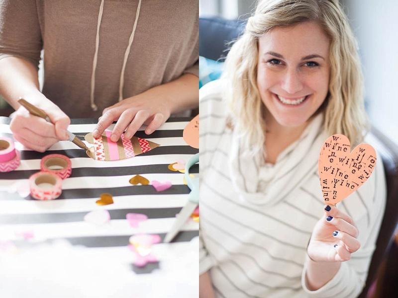 Make DIY valentines at your Galentine's Day brunch!