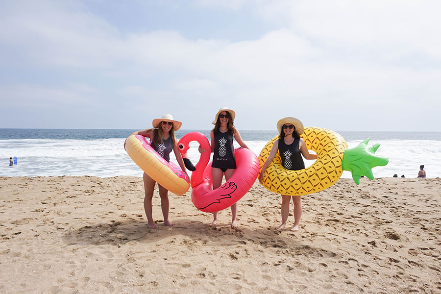 Pool floaties add so much fun to a beach bachelorette party!