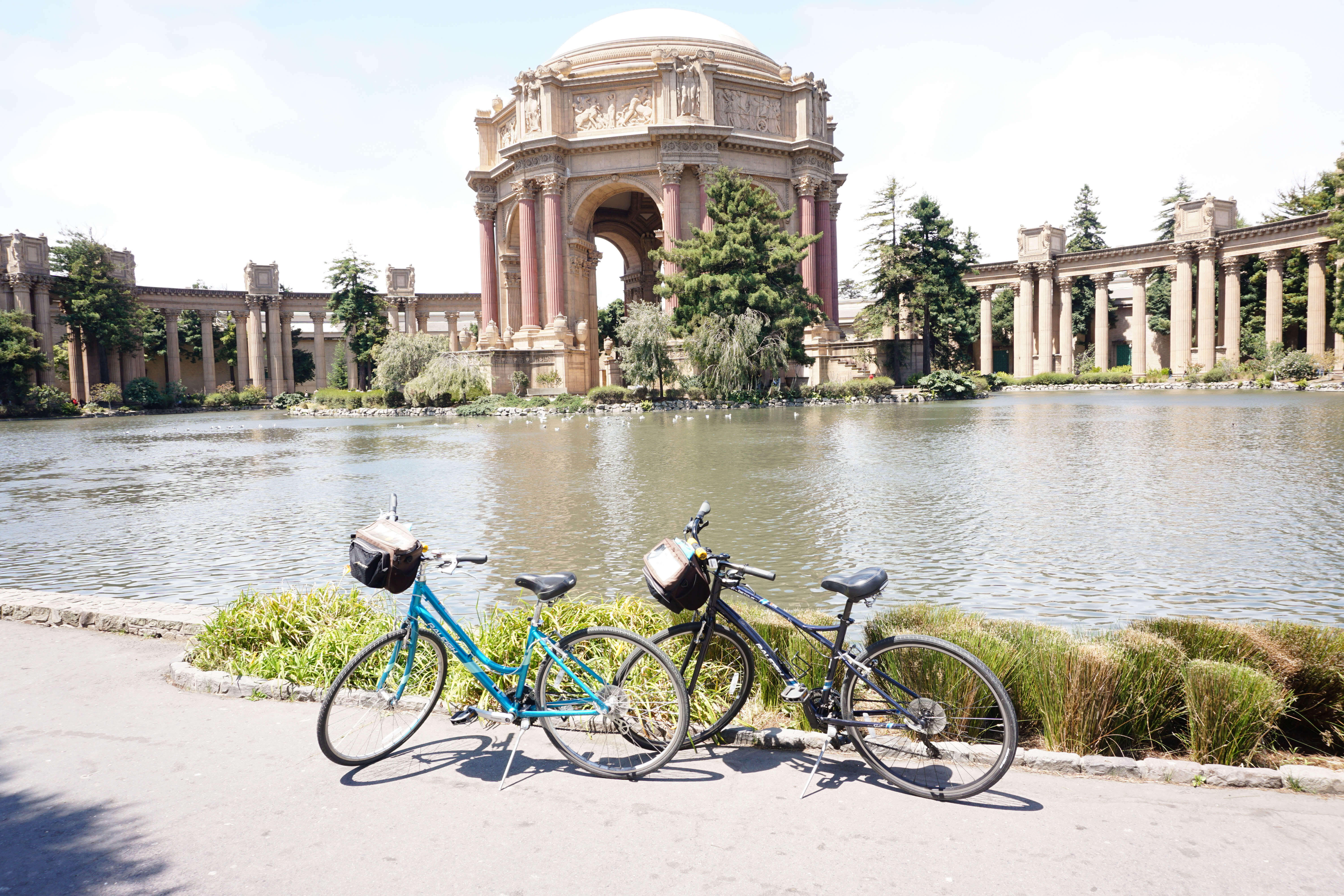 You can rent bikes in San Francisco and go by the Palace of the Fine Arts! What a great pit stop to put on your list!