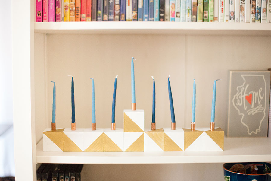 Make this menorah all by yourself! Super easy DIY tutorial right this way. by Love Always, Audrey blog