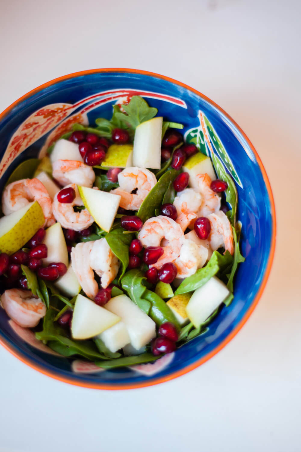 Easy Whole30 Salad -- Pear, Pomegranate, and Shrimp!