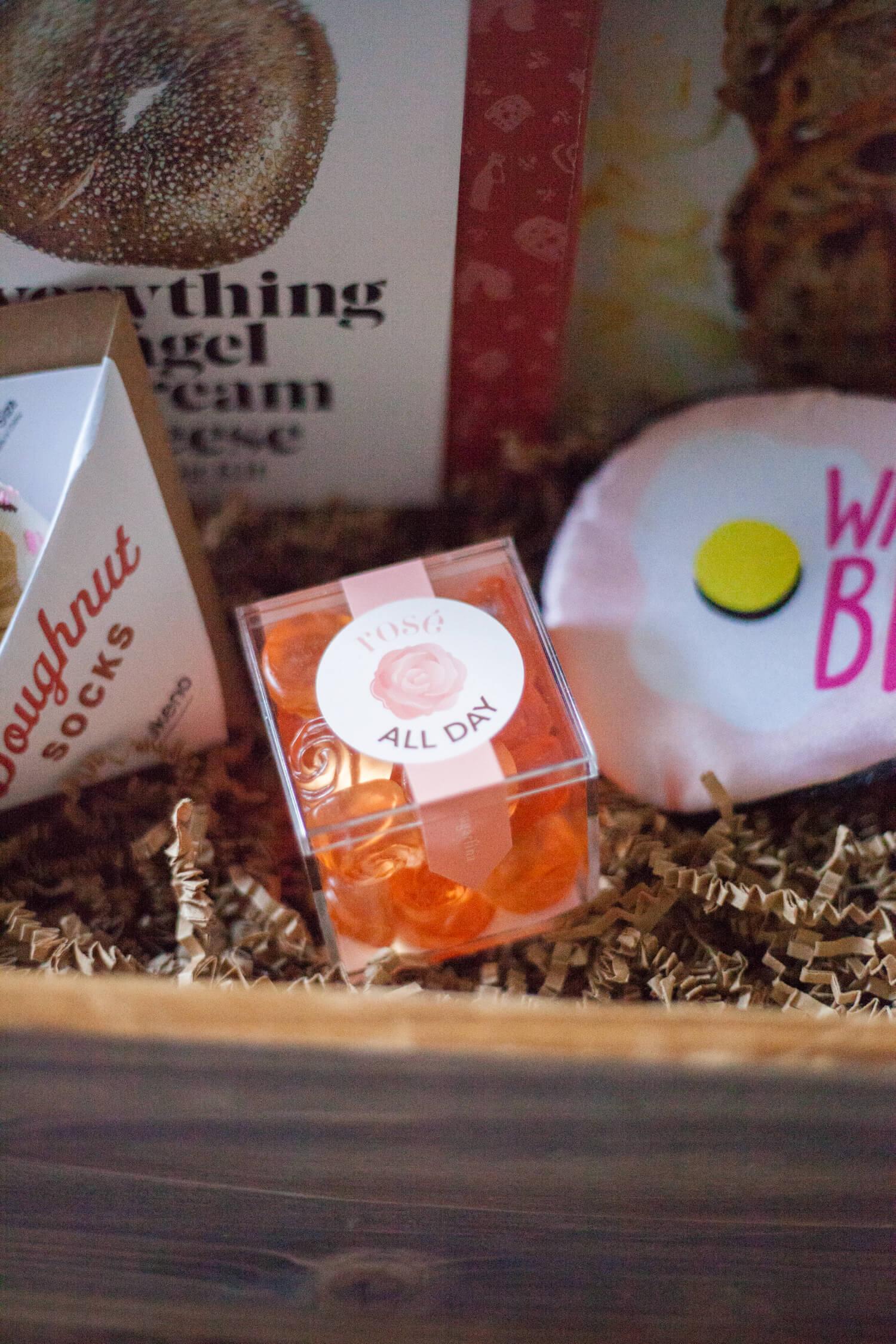 Brunch-themed adult gift basket idea