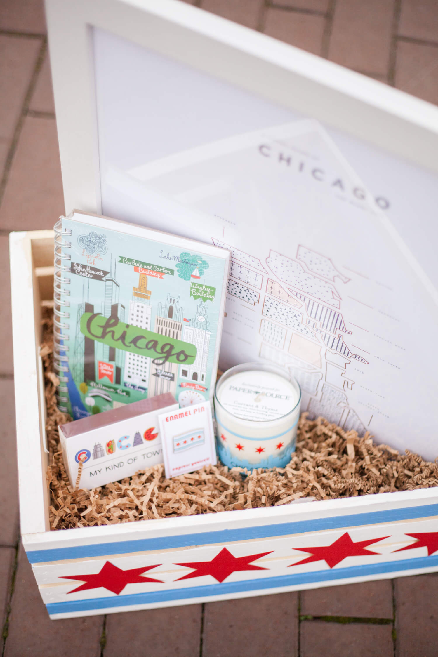 Chi town-themed gift basket. Perfect for an adult Easter basket, or as a housewarming present!