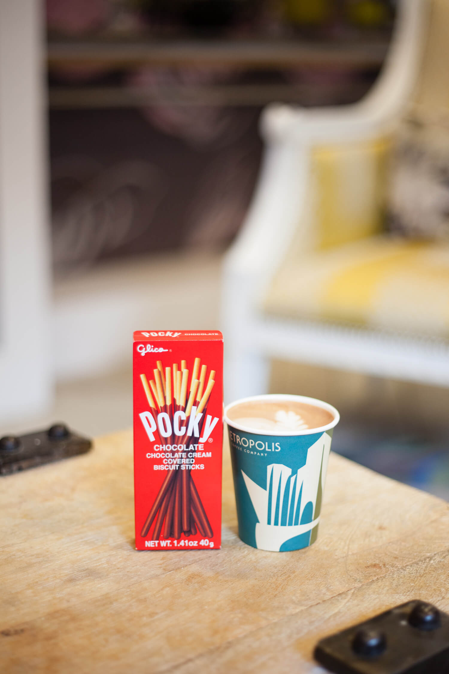 Coffee and Pocky Pairing Idea - Chocolate and a hot mocha. Yum!!
