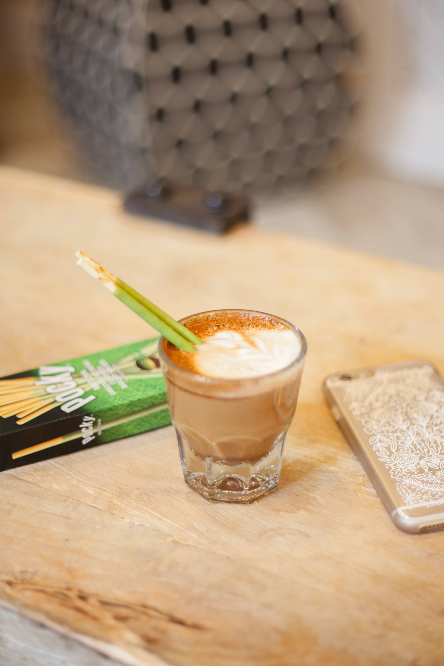 Use your Matcha Pocky as a Cortado coffee stirrer! Genius.