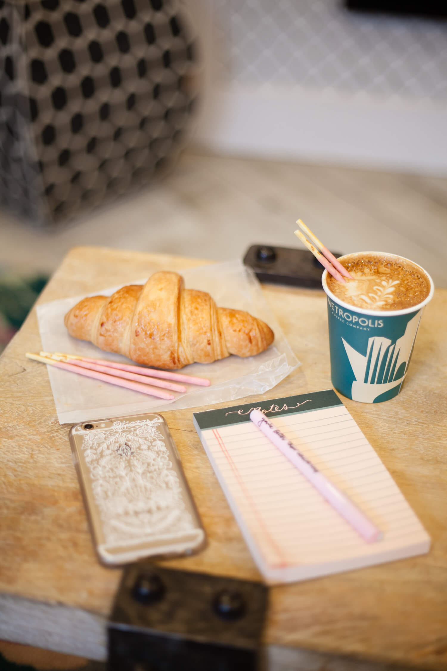 Coffee and Pocky Pairing Idea - Strawberry and a plain latte