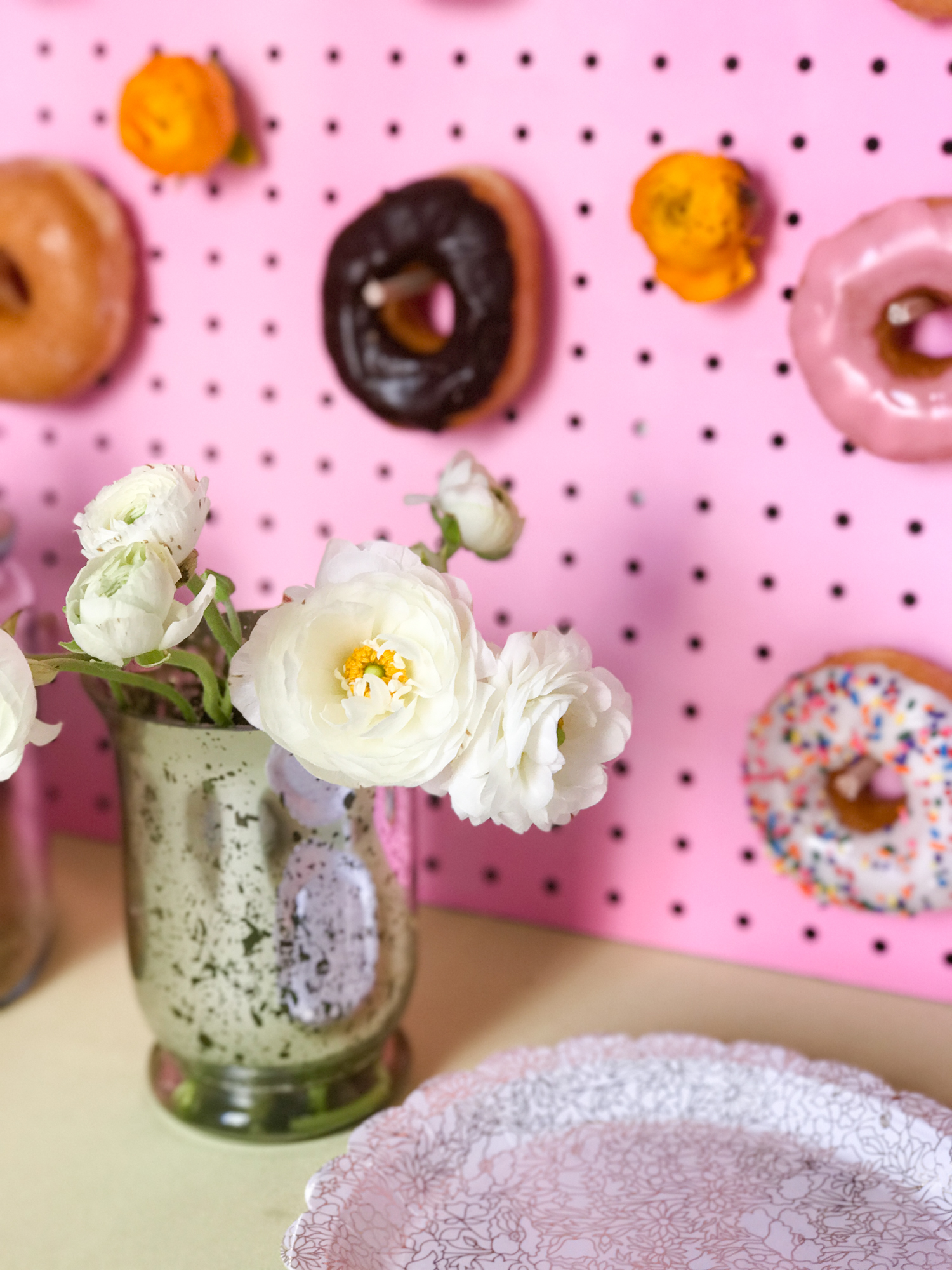 Blooms and a donut wall. I love this combination.