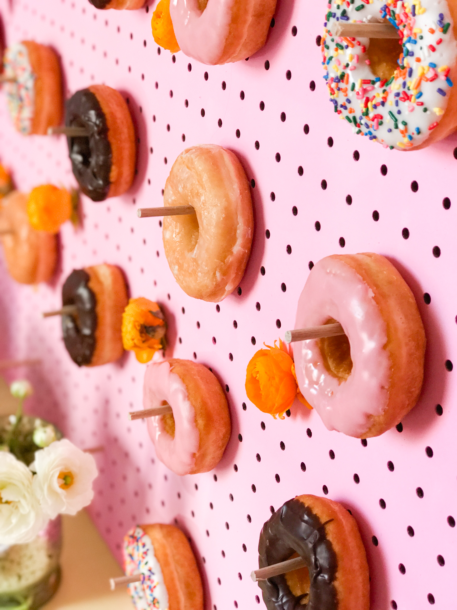An easy dessert bar to sweeten up your next party. Plus, instructions for making a DIY donut wall!