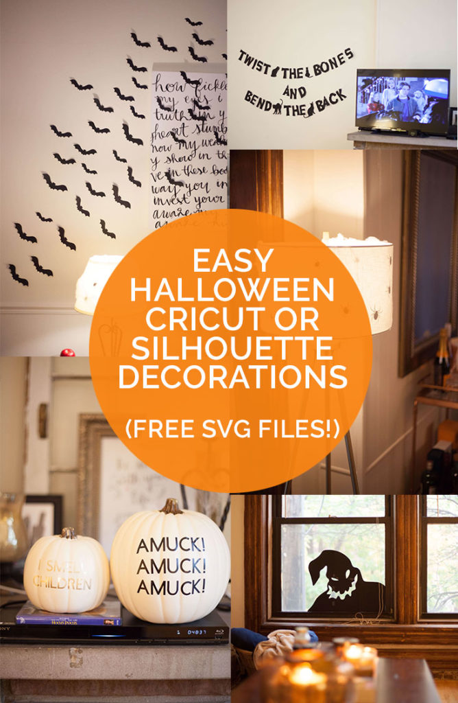 Some SUPER easy ideas for Halloween decorations you can make with your Cricut or Silhouette machine! Free SVG files included!