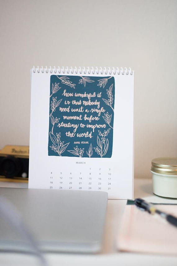 """""""Women Who Changed The World"""" desktop calendar, now on Etsy for only $20 with 10% of sales going to a female-focused nonprofit."""