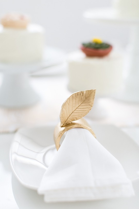 Leaf napkin rings made from polymer clay