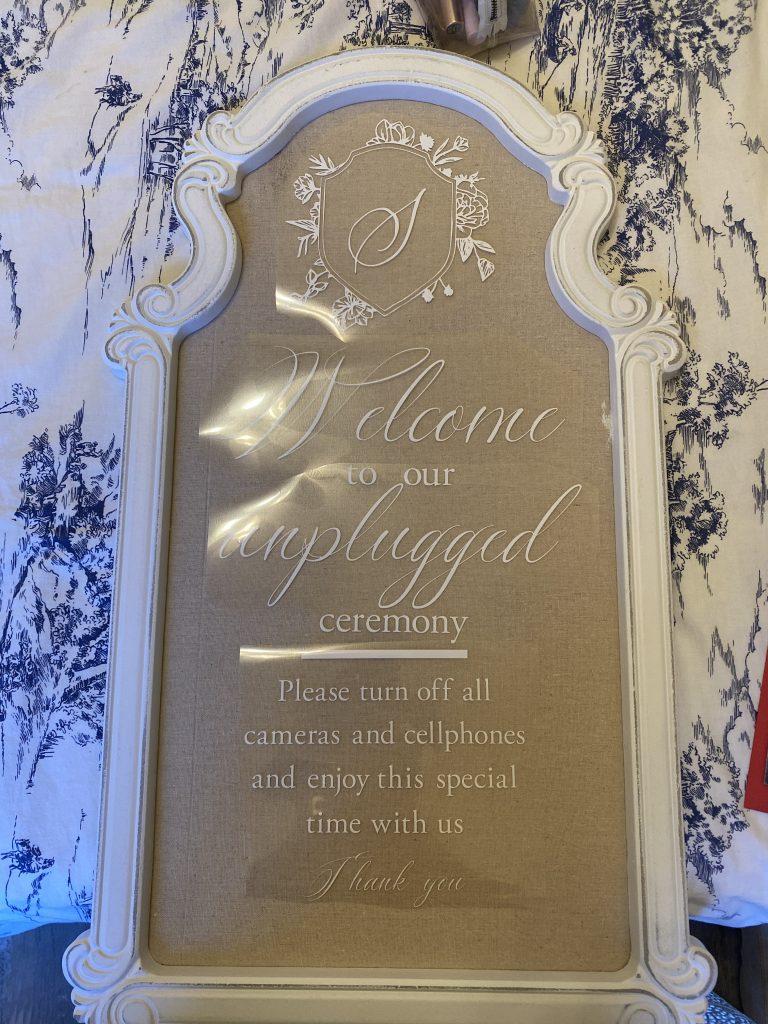 Unplugged Wedding Ceremony Sign DIY
